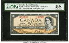 "Canada Bank of Canada $50 1954 BC-34b ""Devil's Face"" PMG Choice About Unc 58. Sharply designed borders enhance the portrait of Queen Elizbeth II on th..."