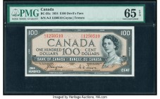 "Canada Bank of Canada $100 1954 BC-35a ""Devil's Face"" PMG Gem Uncirculated 65 EPQ. Bold inks, bright paper, and great centering highlight this high gr..."