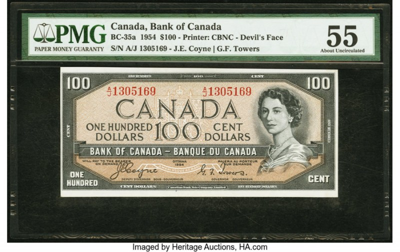 "Canada Bank of Canada $100 1954 BC-35a ""Devil's Face"" PMG About Uncirculated 55...."