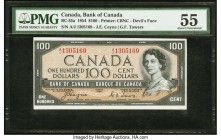 "Canada Bank of Canada $100 1954 BC-35a ""Devil's Face"" PMG About Uncirculated 55. An interesting first issue variety with the infamous ""Devil's Face"" d..."