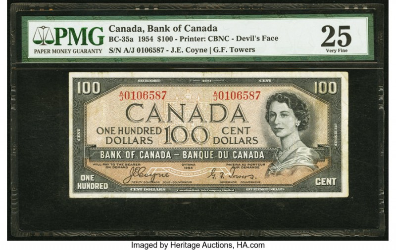 "Canada Bank of Canada $100 1954 BC-35a ""Devil's Face"" PMG Very Fine 25. There is..."