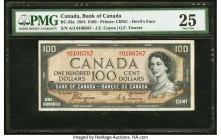 "Canada Bank of Canada $100 1954 BC-35a ""Devil's Face"" PMG Very Fine 25. There is only one prefix available for this first series of Queen Elizabeth II..."