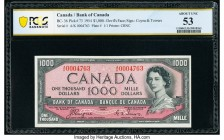 "Canada Bank of Canada $1000 1954 Pick 73 BC-36 ""Devil's Face"" PCGS Banknote About UNC 53. Seldom seen in any grade, examples of this variety are widel..."