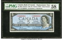 Canada Bank of Canada $5 1954 BC-39bA Replacement PMG Choice About Unc 58. A nicely centered and quite attractive Beattie-Rasminsky Replacement note w...