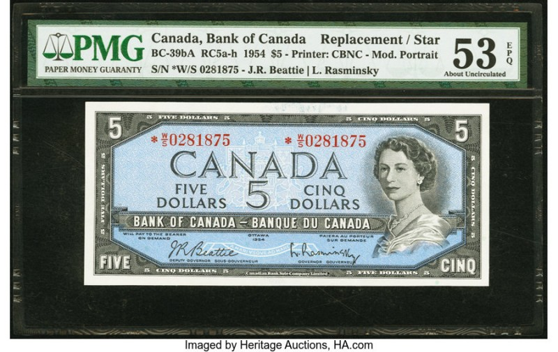 Canada Bank of Canada $5 1954 BC-39bA Replacement PMG About Uncirculated 53 EPQ....