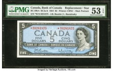 Canada Bank of Canada $5 1954 BC-39bA Replacement PMG About Uncirculated 53 EPQ. A modified portrait of Queen Elizabeth II enhances this W/S prefix Re...