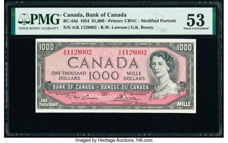 Canada Bank of Canada $1000 1954 BC-44d PMG About Uncirculated 53. An A/K prefix...