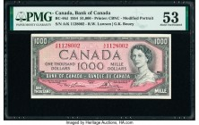Canada Bank of Canada $1000 1954 BC-44d PMG About Uncirculated 53. An A/K prefix is seen on this modified portrait issue printed by The Canadian Bank ...