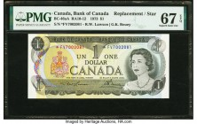 Canada Bank of Canada $1 1973 BC-46aA Replacement PMG Superb Gem Unc 67 EPQ. A F/V prefix is seen on this Replacement enhanced by a portrait of Queen ...