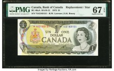 Canada Bank of Canada $1 1973 BC-46aA Replacement PMG Superb Gem Unc 67 EPQ. The Lawson-Bouey signatures are seen on this I/A prefix Replacement issue...
