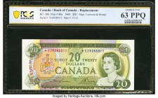Canada Bank of Canada $20 1969 BC-50bA Replacement PCGS Banknote Choice Unc 63 PPQ. A gorgeous Replacement example featuring a portrait of Queen Eliza...
