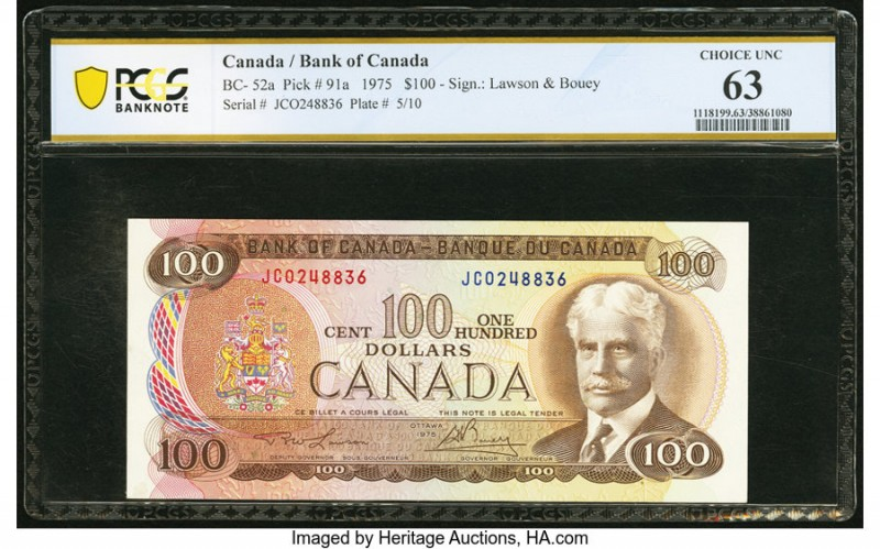Canada Bank of Canada $100 1975 BC-52a PCGS Banknote Choice Unc 63. Excellent co...