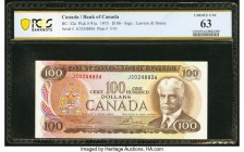 Canada Bank of Canada $100 1975 BC-52a PCGS Banknote Choice Unc 63. Excellent colors are seen on this Lawson-Bouey signature issue.  HID09801242017  ©...