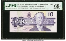 Canada Bank of Canada $10 1989 BC-57aA Replacement PMG Superb Gem Unc 68 EPQ. An exceptional Replacement example, this note features vivid purple inks...