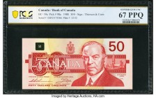 Canada Bank of Canada $50 1988 BC-59aA Replacement PCGS Banknote Superb Gem Unc 67 PPQ. This Thiessen-Crow signature issue features a portrait of Will...