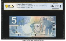 Canada Bank of Canada $5 2008 BC-67bA Replacement PCGS Banknote Gem Unc 66 PPQ. A portrait of Wilfrid Laurier graces the front of this example from th...