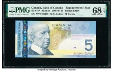 Canada Bank of Canada $5 2008 BC-67bA Replacement PMG Superb Gem Unc 68 EPQ. Printed for The Canadian Journey Series, this example is enhanced by a po...