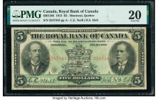 Canada Montreal, PQ- Royal Bank of Canada $5 2.1.1913 Ch.# 630-12-04 PMG Very Fine 20. A large size issue with a good color remaining, printed by the ...