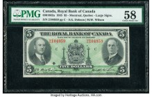 Canada Montreal, PQ- Royal Bank of Canada $5 2.1.1935 Ch.# 630-18-02a PMG Choice About Unc 58. Portraits of Morris W. Wilson and Sir Herbert Holt are ...