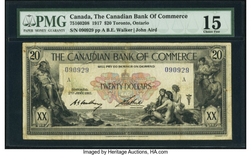 Canada Toronto, ON- Canadian Bank of Commerce $20 2.1.1917 Ch.# 75-16-02-08 PMG ...