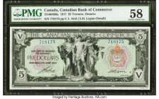 Canada Toronto, ON- Canadian Bank of Commerce $5 2.1.1917 Ch.# 75-16-04-06a PMG Choice About Unc 58. A vignette of Mercury flanked by Architecture and...