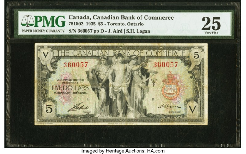 Canada Toronto, ON- Canadian Bank of Commerce $5 2.1.1935 Ch.# 75-18-02 PMG Very...