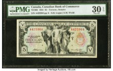 Canada Toronto, ON- Canadian Bank of Commerce $5 2.1.1935 Ch.# 75-18-05 PMG Very Fine 30 EPQ. From the 1935 small size issue, this note is extremely r...