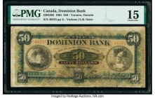 Canada Toronto, ON- Dominion Bank $50 2.7.1901 Ch.# 220-22-02 PMG Choice Fine 15. A rare, issue printed by the American Bank Note Company, Ottawa, onl...