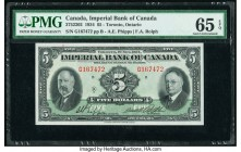 Canada Toronto, ON- Imperial Bank of Canada $5 1.11.1934 Ch.# 375-22-02 PMG Gem Uncirculated 65 EPQ. This gorgeous $5 is the sole finest graded exampl...