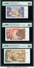Algeria Banque Centrale d'Algerie 5; 10; 100 Dinars 1970 Pick 126a; 127b; 128b Three Examples PMG Gem Uncirculated 66 EPQ (3); Choice Uncirculated 63 ...