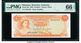 Bahamas Monetary Authority 5 Dollars 1968 Pick 29a PMG Gem Uncirculated 66 EPQ.   HID09801242017  © 2020 Heritage Auctions | All Rights Reserve