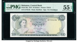 Bahamas Central Bank 10 Dollars 1974 Pick 38a PMG About Uncirculated 55 EPQ.   HID09801242017  © 2020 Heritage Auctions | All Rights Reserve