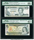 Bahamas Central Bank 1/2 Dollar 1974 (ND 1984) Pick 42a PMG Superb Gem Unc 68 EPQ; Canada Bank of Canada $1 1973 BC-46aA PMG Superb Gem Unc 67 EPQ. Tw...