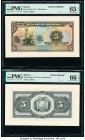 Bolivia Banco de la Nacion Boliviana 5 Bolivianos 11.5.1911 Pick 106p1; 106p2 Front and Back Proofs PMG Gem Uncirculated 65 EPQ; Gem Uncirculated 66 E...