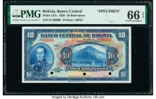 Bolivia Banco Central 10 Bolivianos 20.7.1928 Pick 121s Specimen PMG Gem Uncirculated 66 EPQ. Three POCs; red Specimen overprints.  HID09801242017  © ...