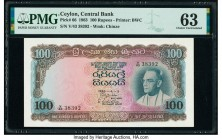 Ceylon Central Bank of Ceylon 100 Rupees 5.6.1963 Pick 66 PMG Choice Uncirculated 63.   HID09801242017  © 2020 Heritage Auctions | All Rights Reserve