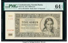 Czechoslovakia Narodni Banka Ceskoslovenska 1000 Korun 1945 Pick 74a PMG Choice Uncirculated 64 EPQ.   HID09801242017  © 2020 Heritage Auctions | All ...