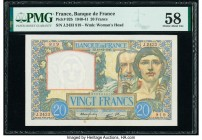 France Banque de France 20 Francs 19.12.1940 Pick 92b PMG Choice About Unc 58. Minor stain.  HID09801242017  © 2020 Heritage Auctions | All Rights Res...