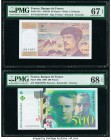 France Banque de France 20; 500 Francs 1988-89; 2000 Pick 151c; 160d Two Examples PMG Superb Gem Unc 67 EPQ; Superb Gem Unc 68 EPQ.   HID09801242017  ...