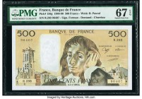 France Banque de France 500 Francs 2.2.1989 Pick 156g PMG Superb Gem Unc 67 EPQ.   HID09801242017  © 2020 Heritage Auctions | All Rights Reserve