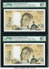 France Banque de France 500 Francs 2.2.1989 Pick 156g Two Consecutive Examples PMG Superb Gem Unc 67 EPQ (2).   HID09801242017  © 2020 Heritage Auctio...