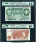 Great Britain Bank of England 1 Pound; 10 Shillings ND (1948-49); ND (1966-70) Pick 369a; 373c* Two Examples PMG Gem Uncirculated 66 EPQ; Gem Uncircul...
