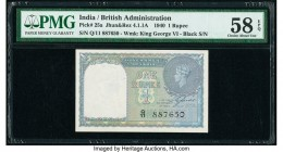 India Government of India 1 Rupee 1940 Pick 25a Jhunjhunwalla-Razack 4.1.1A PMG Choice About Unc 58EPQ.   HID09801242017  © 2020 Heritage Auctions | A...