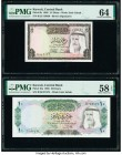 Kuwait Central Bank of Kuwait 1/4; 10 Dinars 1968 Pick 6b; 10a Two Examples PMG Choice Uncirculated 64; Choice About Unc 58 EPQ.   HID09801242017  © 2...