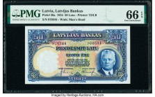 Latvia Bank of Latvia 50 Latu 1934 Pick 20a PMG Gem Uncirculated 66 EPQ.   HID09801242017  © 2020 Heritage Auctions | All Rights Reserve