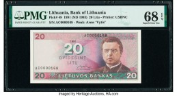 Lithuania Bank of Lithuania 20 Litu 1991 (ND 1993) Pick 48 PMG Superb Gem Unc 68 EPQ.   HID09801242017  © 2020 Heritage Auctions | All Rights Reserve