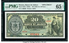 Mexico Banco De Jalisco 20 Pesos ND (1902-14) Pick S322s M388s Specimen PMG Gem Uncirculated 65 EPQ. Two POCs; red Specimen overprint.  HID09801242017...
