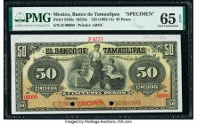 Mexico Banco de Tamaulipas 50 Pesos ND (1902-14) Pick S432s M523s Specimen PMG Gem Uncirculated 65 EPQ. Two POCs; red Specimen overprint.  HID09801242...