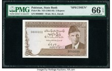 Pakistan State Bank of Pakistan 5 Rupees ND (1983-84) Pick 38s Specimen PMG Gem Uncirculated 66 EPQ. Cancelled perforated. We could find no price hist...