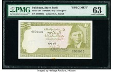 Pakistan State Bank of Pakistan 10 Rupees ND (1983-84) Pick 39s Specimen PMG Choice Uncirculated 63. Cancelled perforated and minor foreign substance....